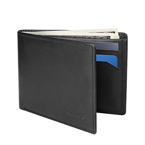 Slim Wallet for Men -Thin Bifold Genuine Leather RFID Blocking Minimalist Stylish Front Pocket Mens Wallets (A. Charcoal black-ID)