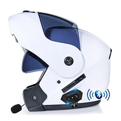 Bluetooth Casco Moto Modular Casco Moto Integral,Casco Integrado,Dot/ECE Homologado para Adultos con Doble Visera Anti-rasguños y Protección Rayos UV Mujer Hombre Adultos (Color:K,Size:X=59-60CM)