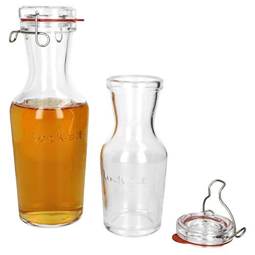 Luigi Bormioli 2-delige set Lock-Eat glazen karaf 0,5 & 1 liter I strijkfles I sap, melk-, wijn- en water I elegante karaf met glazen deksel & beugelsluiting I dikwandig glas I roestvrijstalen klem