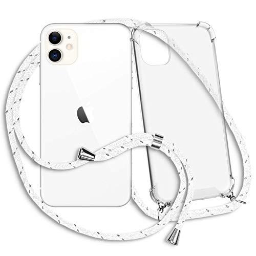 mtb More Energy Collar Smartphone para Apple iPhone 11 (6.1'') - Blanco Gris Rayado- Funda Protectora ponible - Carcasa Anti Shock con Cuerda