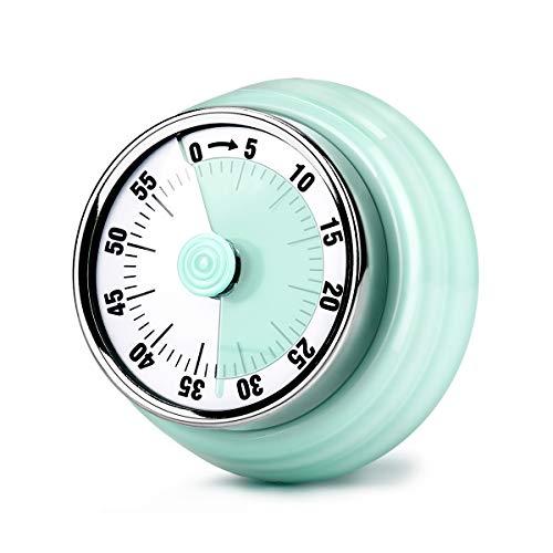 E-More Küchentimer, 60 Minuten Mechanisch Magnetisch Kein Akku erforderlich Countdown Timer Küchenuhr mit 72DB Alarmton, Grün