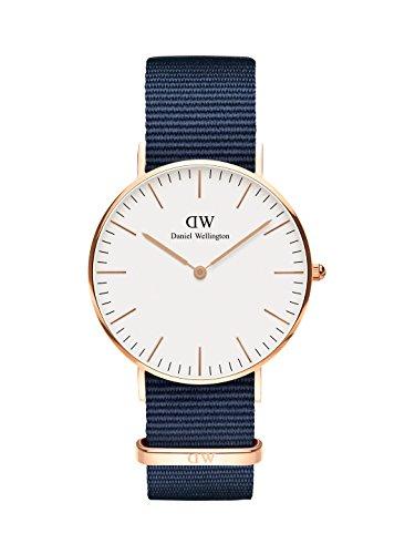 Daniel Wellington Classic Bayswater, Nachtblau/Roségold Uhr, 36mm, NATO, für Damen und Herren