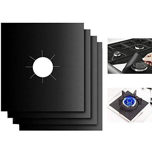 Plaque de Cuisson à Gaz Protection d écran, 8pcs Anti-adhésif Réutilisable Protection Cuisinière Protection Gazinière, 10.6 x 10.6 inch