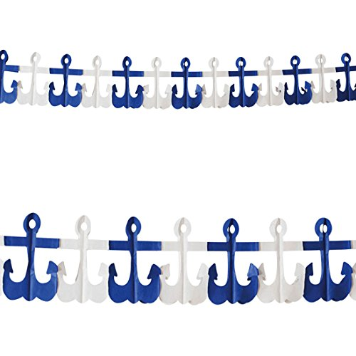 NET TOYS Anker Girlande Maritime Deko 3 m Seemann Wimpelkette Marine Südsee Girlanden Papiergirlande