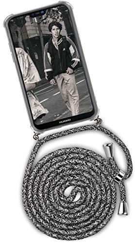 ONEFLOW Handykette kompatibel mit Huawei P20 Lite - Handyhülle mit Band zum Umhängen Hülle Abnehmbar Smartphone Necklace - Hülle mit Kette, Schwarz Grau Weiß