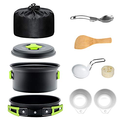 Keymao Camping Cooker Pot Pan Set Portable Outdoor Cooking Mess Kit for 1-2 People Camp Cookware Utensil Gear Lightweight Backpacking for Picnic Fishing HikingTrekking
