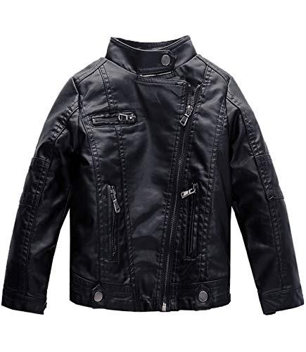 Spring&Gege Jungen Kunstleder Jacke Kinder Motorrad Biker Mode Leder Mäntel Herbst Winter Jacke für Kinder 110 116