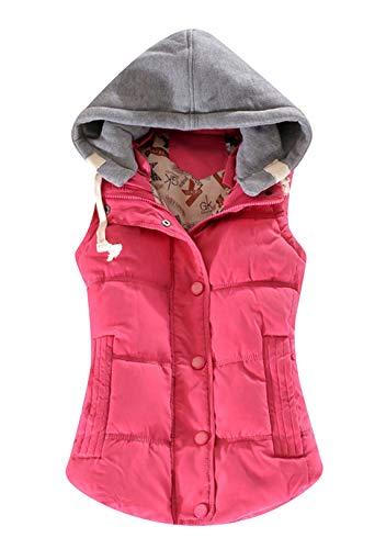 OMZINDamen Weste Übergangsweste Winter Steppweste Warm Ärmellos Sweatweste Jacke Winter-Puffer-Weste Outdoor-Sport Weste Rose XL