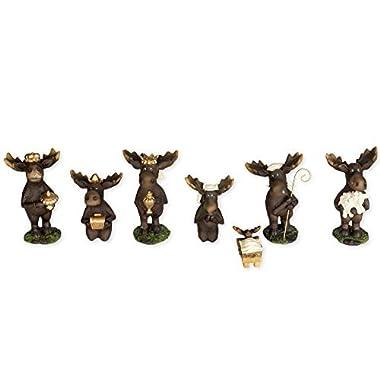 7 Piece Moose Figurines Christmas Nativity Set