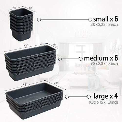 16 Pack Interlocking Drawer Organizer Tray, Desk Drawer Organizer, Office Drawer Dividers Storage Bins for Kitchen Bathroom Office, 3 Different Sizes, Grey