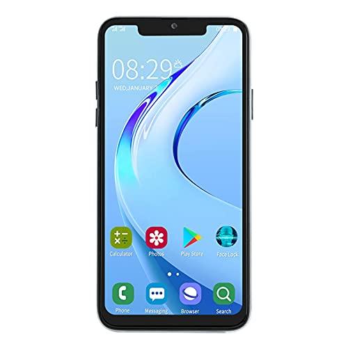 Teléfono inteligente de 6.5 pulgadas, teléfono móvil con pantalla Bang, teléfono con tarjeta dual 1+16G, teléfono celular de 2MP+5MP, compatible con tarjeta de memoria de 128GB para Android (blanco)