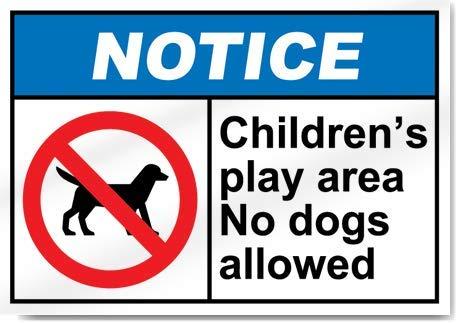 Yilooom - Pegatina de Advertencia para Zona de Juegos Infantil con Texto en inglés No Permiten Perros