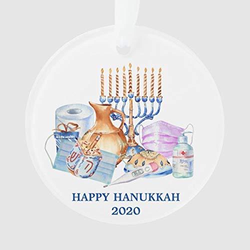 Cheyan Happy Hanukkah Covid Watercolor Quarantine 2020 Ornament