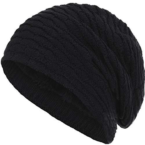 Compagno Beanie Gorro de invierno de punto panal deportivo y elegante con interior de forro polar, Color:Negro