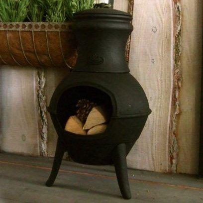 Antikas - Terrassenofen aus Gusseisen, Kamin Ofen, Mexiko - Gartenkamin aus Eisen Lakos