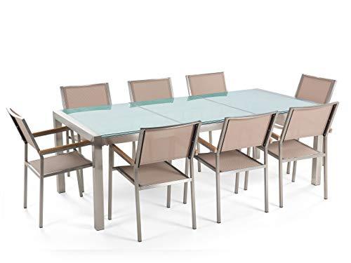 Beliani - Table de Jardin et 8 Chaises - Grosseto - Plateau Triple en Verre Effet Brisé, 220x100 cm, Chaises en Textile, Transparent et Beige