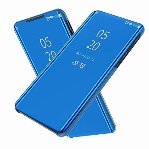 FanTing Hülle für Oppo Realme X2 Pro,Halbdurchsichtiger Spiegel Smart Cover, Hüllen für Oppo Realme X2 Pro -Blau