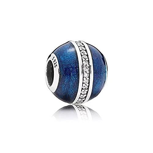 LIIHVYI Pandora Charms para Mujeres Cuentas Plata De Ley 925 Planta Azul E Compatible con Pulseras Europeos Collars