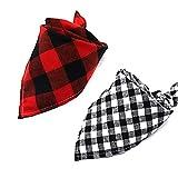 2 pezzi fazzoletto per cani da compagnia, sciarpe per cani triangolari in regolabili, da utilizzare per animali di taglia media o grande, cani, gatti, griglia rossa e griglia nera