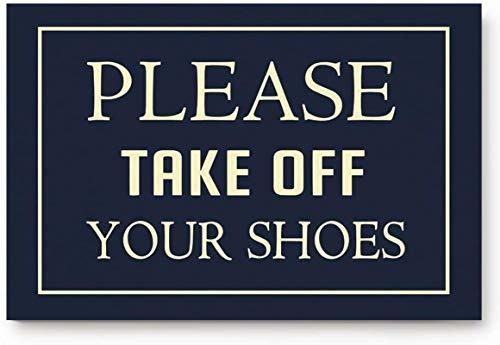 Bernice Winifred Felpudo absorbente y duradero antideslizante para entrada en interiores, por favor, quítate los zapatos, lavable, alfombra impermeable, 50 x 80 cm