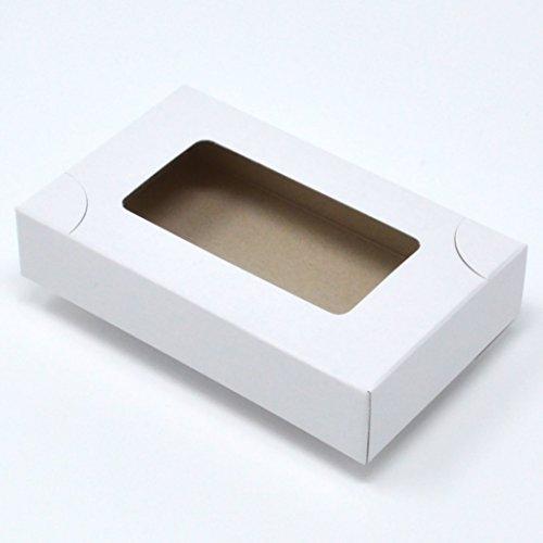 名刺箱 紙製 4号 サイズ 窓あり 白 (S/20mm-50個)