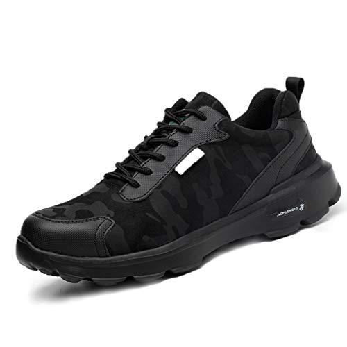 Zapatos de Seguridad Hombres con Punta de Acero Zapatillas de Trabajo Calzado Ultra Liviano Reflectivo Transpirable Ligeros Negro Camo 36-48 BK41