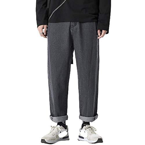 Pantalones Vaqueros para Hombre Primavera y Verano Nueva Tendencia Pantalones Vaqueros Rectos de Pierna Ancha Calle Hip-Hop Pantalones Sueltos Ocasionales recortados 34
