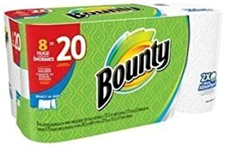 White Paper Towels (8 Huge Roll = 20 Regular Rolls) by Bounty