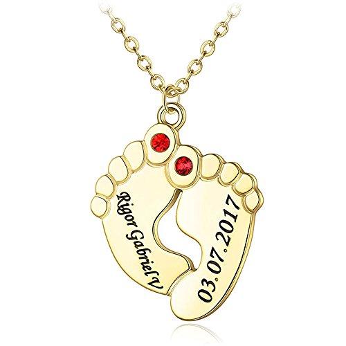 Tanwenling33 Collar de Bebé Personalizado para Mamá,Collar con Nombre de Piedra de Nacimiento para Pies de Bebé para Niños Colgante Doble Bebé Pie