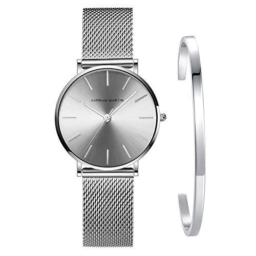 Kubagom Ultra Thin Stainless Steel Mesh Band Quartz Women's Wrist Watch and Bangle Set (Silver-Tone Dial, Silver-Tone Band,Silver-Tone Bangle)