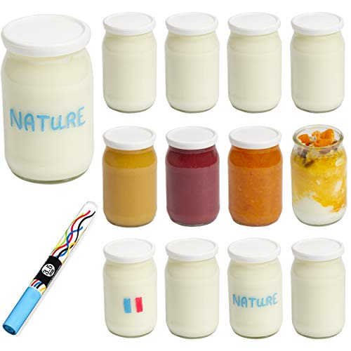 Monboco - Lote de 12 tarros de yogur de cristal con tapas herméticas | Fabricación francesa | para yogurtera y robots a presión (termomix, cookeo, etc) 177 ml/155 g | Bolígrafo borrable de regalo