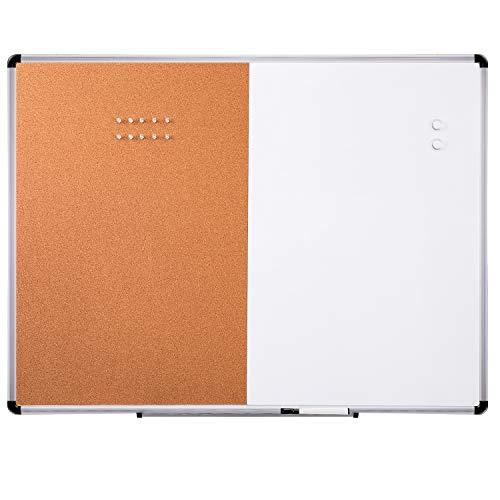 AmazonBasics Doppel-Pinnwand, magnetisch, Whiteboard / Kork-Pinnwand, trocken abwischbar, 91,4 x 121,9 cm