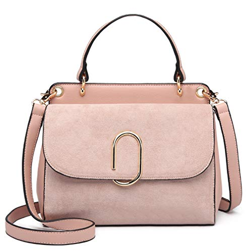 Miss Lulu Women Top Handle Bag Suede Handbags Shoulder Crossbody Bag For Work Shopping Travel Pu Leather (Pink)