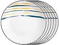 GDLQ プレートセラミックディナープレート6,8インチ皿セットパスタステーキ前菜プレート用ラウンドサービングプレート電子レンジオーブンと食器洗い機のセーフディナープレート (色 : 6pack, サイズ : 7INCH)
