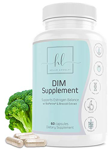 DIM Supplement (Diindolylmethane) Plus BioPerine 255mg with Broccoli Extract, Calcium D-Glucarate - Made in USA - Best Vegan DIM Formula for Menopause Support & Acne for Women - 60 Capsules