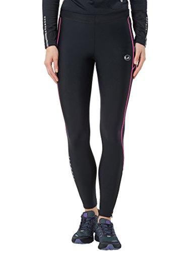 Ultrasport Pantalones largos de correr para mujer, con efecto de compresión y función de secado rápido, Negro/Rosa Neón, XS