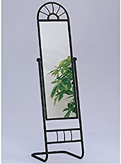 The Furniture Cove New Black Metal Finish Free Standing Mirror with Adjustable Viewing Angle