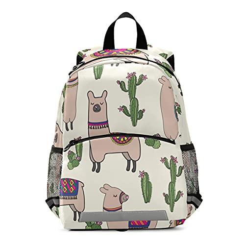 ISAOA - Mochila para niños con riendas para niños y niñas, diseño de llamas, cactus, mochila para guardería, bolsa de viaje con clip para el pecho