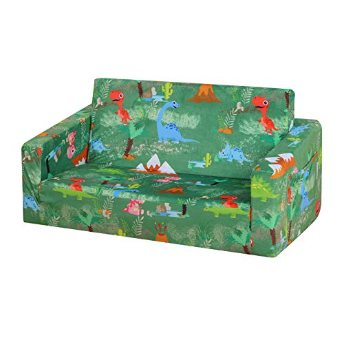 PWTJ Kid Sofa Couch, Double Seat 2 in 1 Flip Open Children Foam Sofa for Ideal Kid Gift (Green)