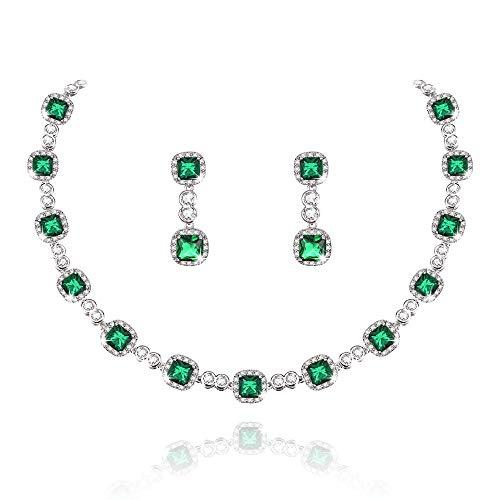 Collana Orecchini Pendenti Strass Verde Donne Set di Gioielli Cristallo