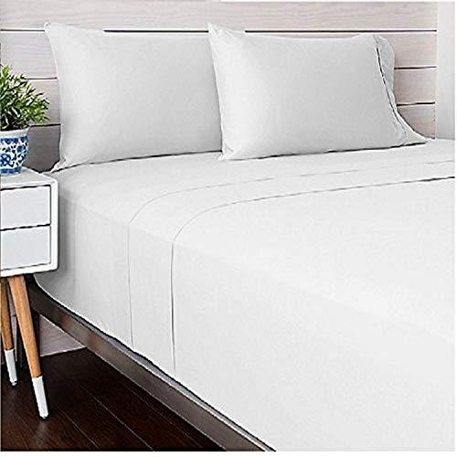 Livingston Home Bettwäsche-Set für King-Size-Betten, Satin, Fadenzahl 300, Blau King weiß