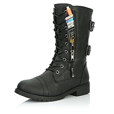 303b5c193a3 DailyShoes Military Combat Lace up Mid Calf High Pocket Boots