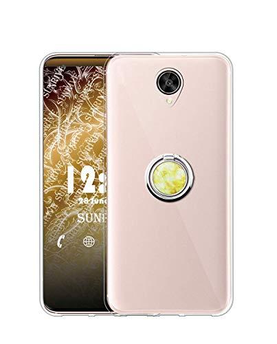 Sunrive Kompatibel mit Meizu MX6 Hülle Silikon, Transparent Handyhülle 360°drehbarer Ständer Ring Fingerhalter Fingerhalterung Schutzhülle Etui Hülle(Goldener Marmor) MEHRWEG