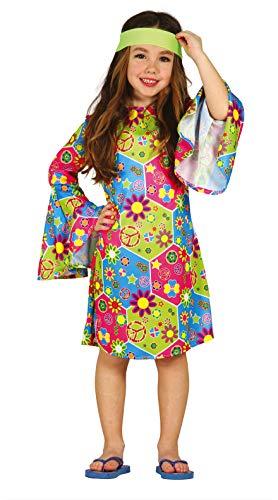 FIESTAS GUIRCA Disfraz Verde Florido años 60 Flores Hippie niña Talla 5-6 años