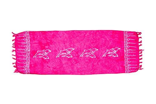 MANUMAR Damen Sarong blickdicht als Mini-Rock (155x55cm) | Kinder Pareo Strandtuch mit Schnalle | Leichtes Wickeltuch in pink mit Delfin-Motiv mit Fransen/Quasten für Kinder | Bikini | Bali