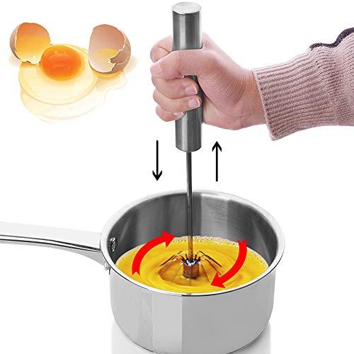 Eiermixer, Edelstahl Küche Halbautomatische Rotation Hand-Ei-Mixer Mixer Beater Kochwerkzeug