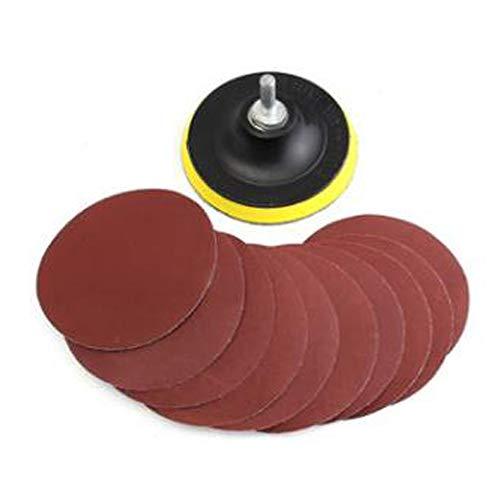 Wixine 1Set 4'' Sanding Disc Sandpaper Hook Loop 1000 Grit + Drill Adapter + Backer Pad