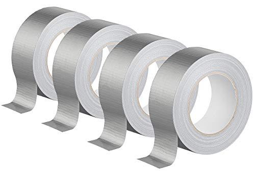 AGT Gewebeband Kfz: 4er-Set Gewebe-Klebeband, reißfest, 48 mm breit, 0,17 mm dick, silber (Gaffer-Tape)