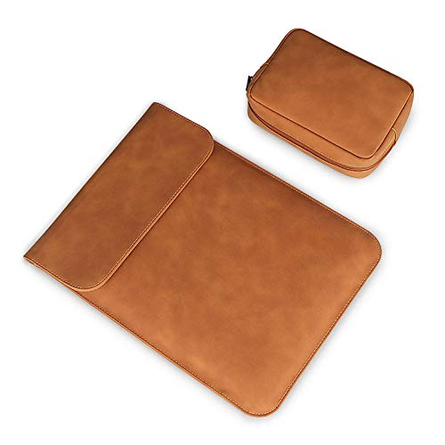 Laptophülse für MacBook Air Pro 13.3 14 15 Zoll wasserdichte weiche PU-Leder-Laptoptasche Notebook-Tablet-Gehäuseabdeckung-Kaffee-Sets_15 Zoll