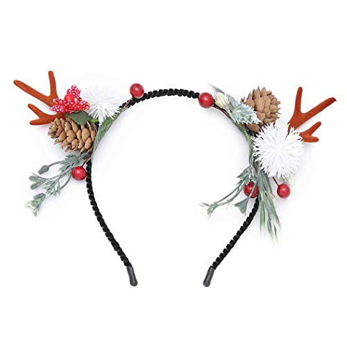 Cagora Christmas Headbands Cute Antlers Headband Reindeer Xmas Hair Hoop Flower Antler Headpiece Deer Berries Headdress Decoration Holiday Costume Headwear Christmas Hair Accessories for Women and Girls